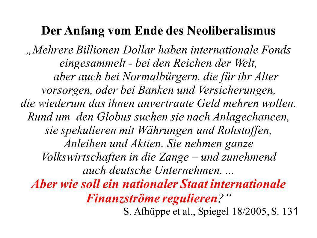 Der Anfang vom Ende des Neoliberalismus Mehrere Billionen Dollar haben internationale Fonds eingesammelt - bei den Reichen der Welt, aber auch bei Nor