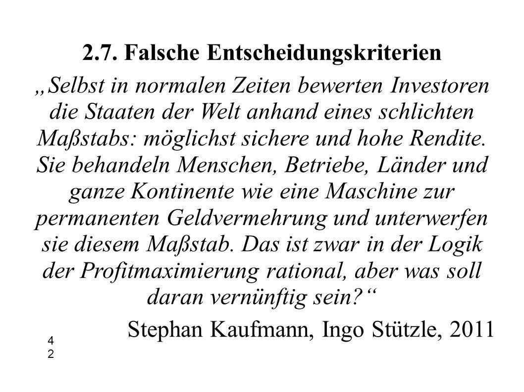 2.7. Falsche Entscheidungskriterien Selbst in normalen Zeiten bewerten Investoren die Staaten der Welt anhand eines schlichten Maßstabs: möglichst sic