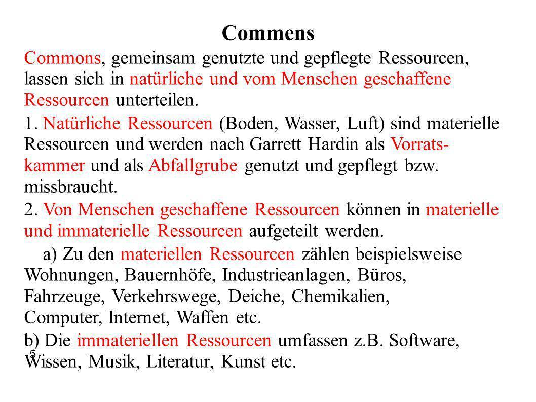 Commens Commons, gemeinsam genutzte und gepflegte Ressourcen, lassen sich in natürliche und vom Menschen geschaffene Ressourcen unterteilen. 1. Natürl