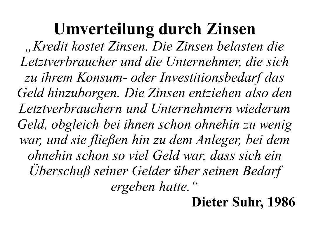 Umverteilung durch Zinsen Kredit kostet Zinsen.