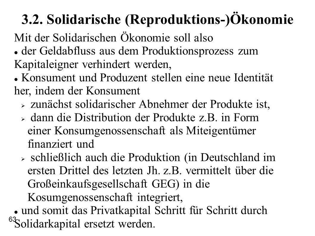 3.2. Solidarische (Reproduktions-)Ökonomie Mit der Solidarischen Ökonomie soll also der Geldabfluss aus dem Produktionsprozess zum Kapitaleigner verhi