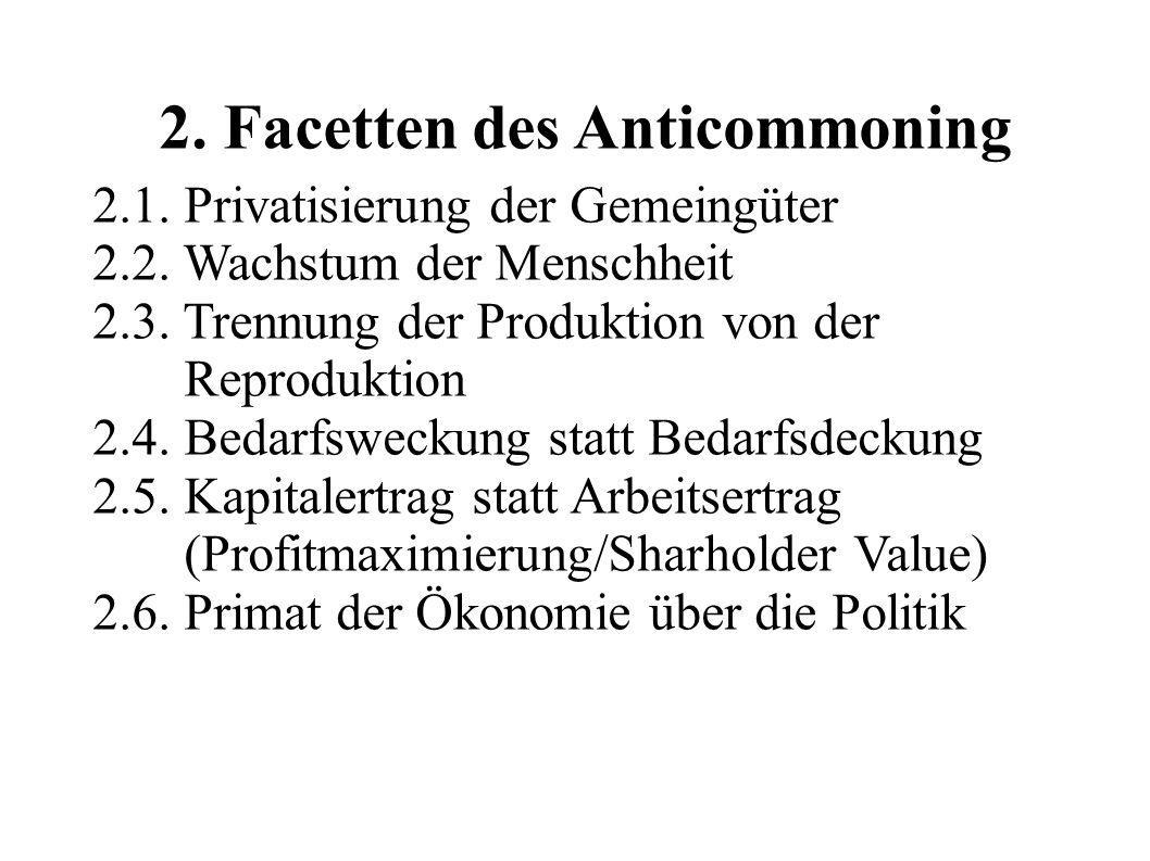 2. Facetten des Anticommoning 2.1. Privatisierung der Gemeingüter 2.2. Wachstum der Menschheit 2.3. Trennung der Produktion von der Reproduktion 2.4.