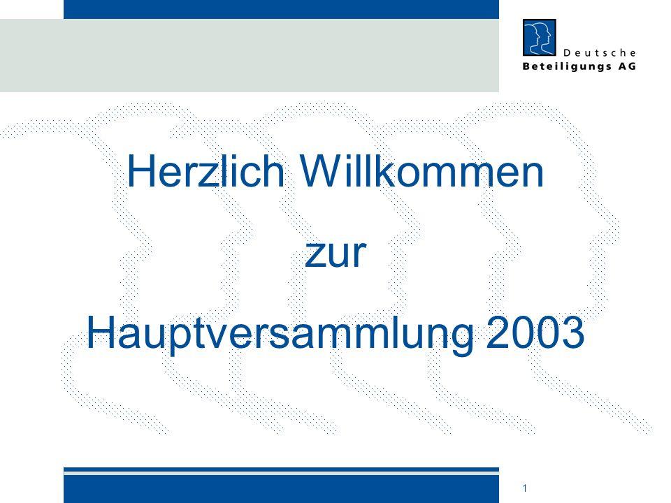 1 Herzlich Willkommen zur Hauptversammlung 2003