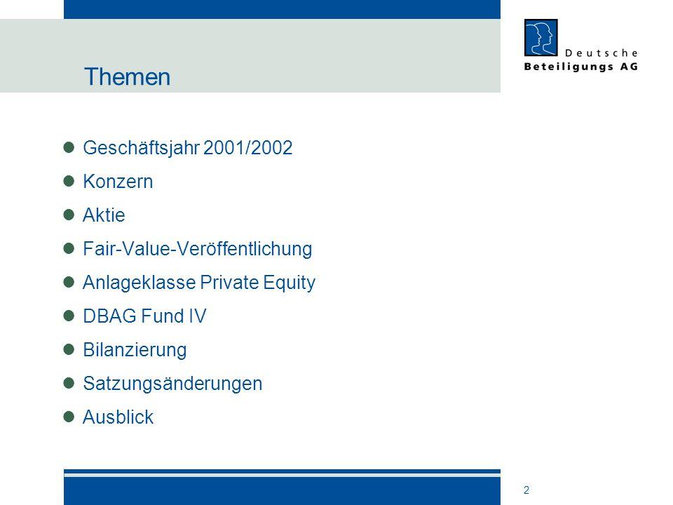 2 Themen Geschäftsjahr 2001/2002 Konzern Aktie Fair-Value-Veröffentlichung Anlageklasse Private Equity DBAG Fund IV Bilanzierung Satzungsänderungen Au
