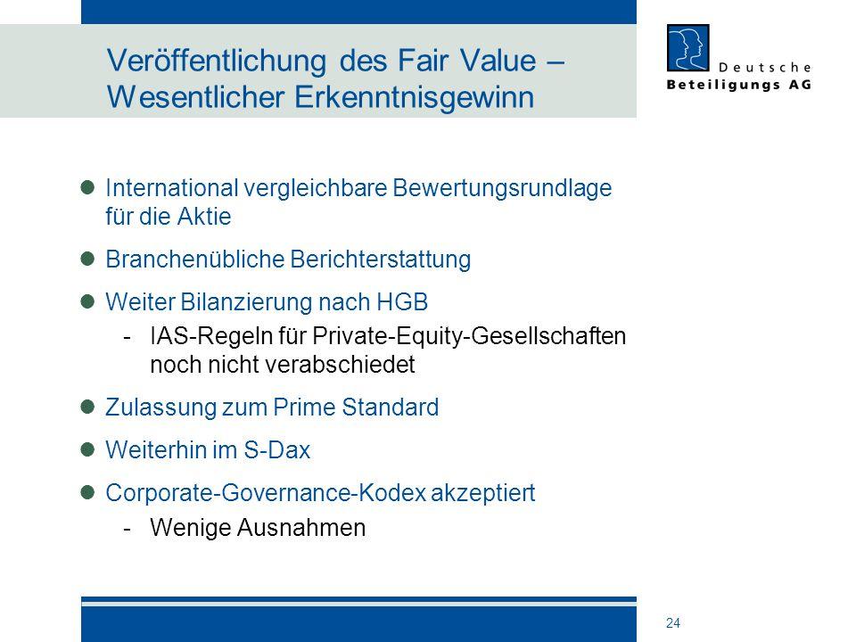 24 Veröffentlichung des Fair Value – Wesentlicher Erkenntnisgewinn International vergleichbare Bewertungsrundlage für die Aktie Branchenübliche Berich