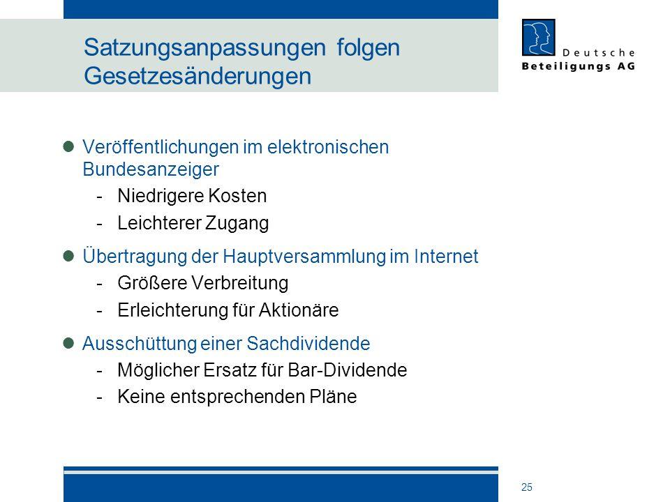 25 Satzungsanpassungen folgen Gesetzesänderungen Veröffentlichungen im elektronischen Bundesanzeiger -Niedrigere Kosten -Leichterer Zugang Übertragung