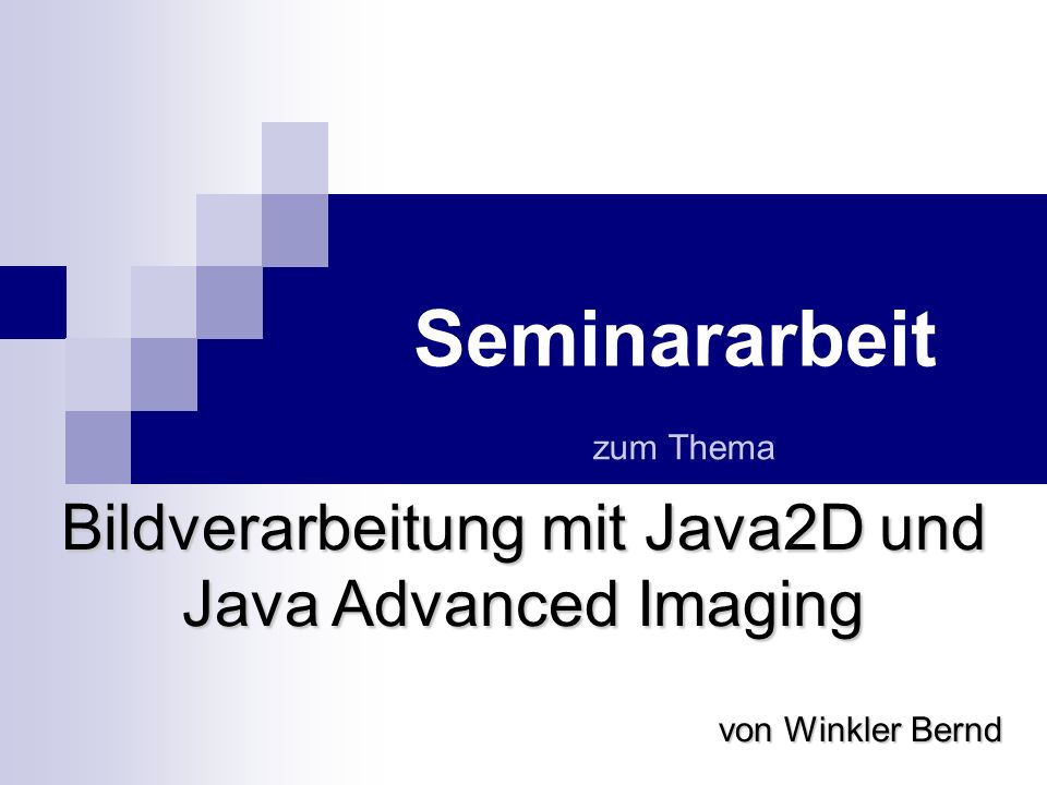 Bildverarbeitung mit Java2D und Java Advanced Imaging Wie kann Java2D in einer Applikation einsetzten werden Das Model, nachdem sich eine Applikation richtet, wenn sie ihre Operation auf einem Bildobjekte mittels BufferedImageOp.filter(…) ausführt nennt sich: Immediate Mode Kennzeichnendes Prinzip des Immediate Modes ist, dass jede Zeichenoperation im dem Moment ihres Aufrufes ausgeführt wird.