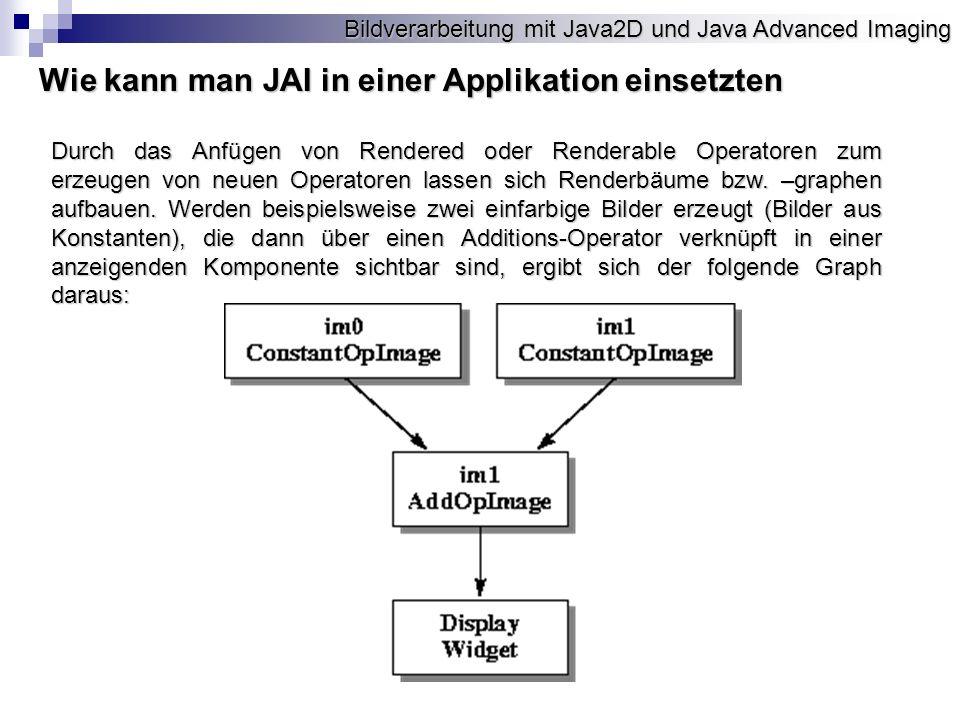 Bildverarbeitung mit Java2D und Java Advanced Imaging Wie kann man JAI in einer Applikation einsetzten Durch das Anfügen von Rendered oder Renderable Operatoren zum erzeugen von neuen Operatoren lassen sich Renderbäume bzw.