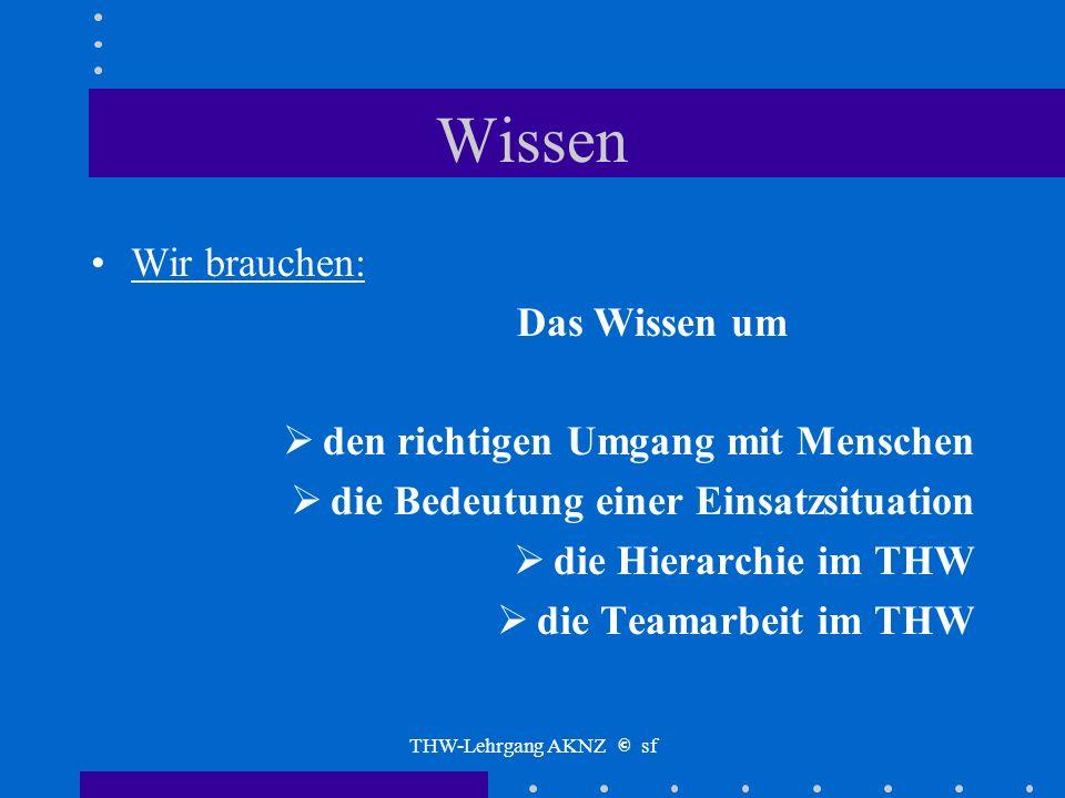 THW-Lehrgang AKNZ © sf Wissen Um die Geschichte Um Status und Erfolge Um die Notwendigkeiten der Zusammenarbeit Um die Notwendigkeiten der Administrat