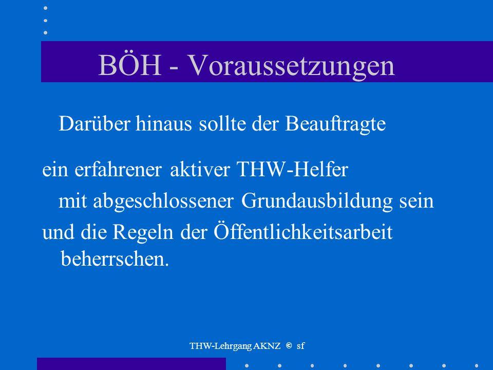 THW-Lehrgang AKNZ © sf BÖH - Voraussetzungen Für die endgültige Berufung ist die Teilnahme am Sonderlehrgang
