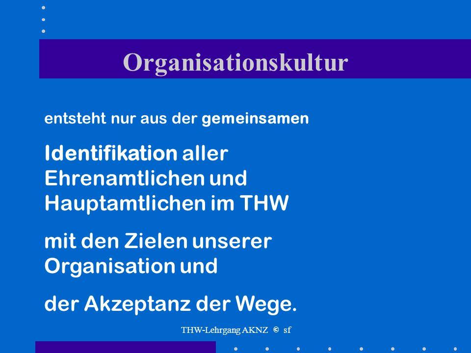 THW-Lehrgang AKNZ © sf Organisationskultur ??? Was beinhaltet der Begriff ???