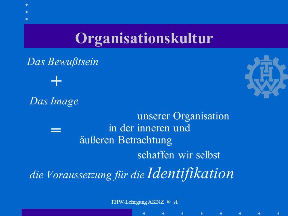 THW-Lehrgang AKNZ © sf Organisationskultur Das Bewußtsein über die Ziele unserer Organisation, über die Wirkung unserer Organisation, über den Beitrag