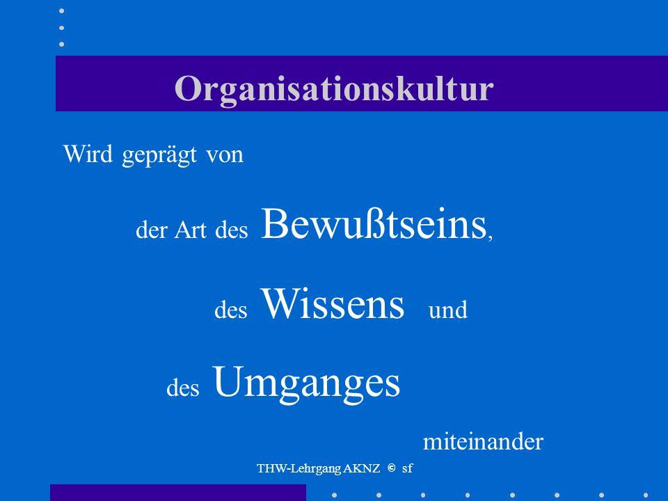 THW-Lehrgang AKNZ © sf Organisationskultur Das Image unserer Organisation in der inneren und äußeren Betrachtung schaffen wir selbst die Voraussetzung