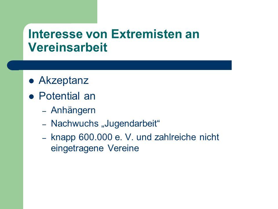 Interesse von Extremisten an Vereinsarbeit Akzeptanz Potential an – Anhängern – Nachwuchs Jugendarbeit – knapp 600.000 e. V. und zahlreiche nicht eing
