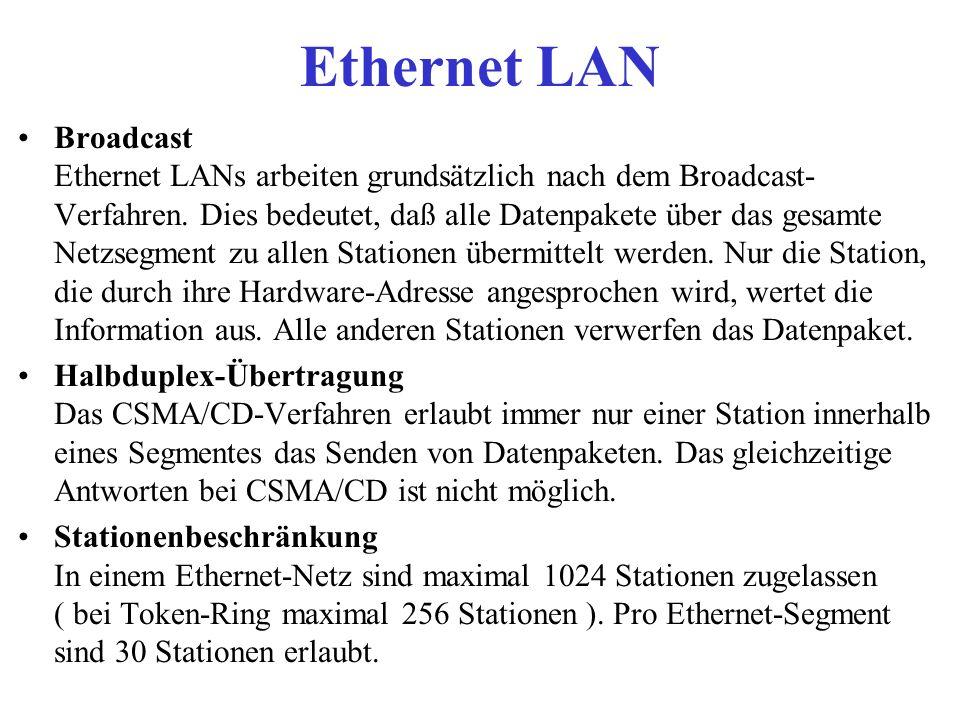 Ethernet LAN Broadcast Ethernet LANs arbeiten grundsätzlich nach dem Broadcast- Verfahren. Dies bedeutet, daß alle Datenpakete über das gesamte Netzse