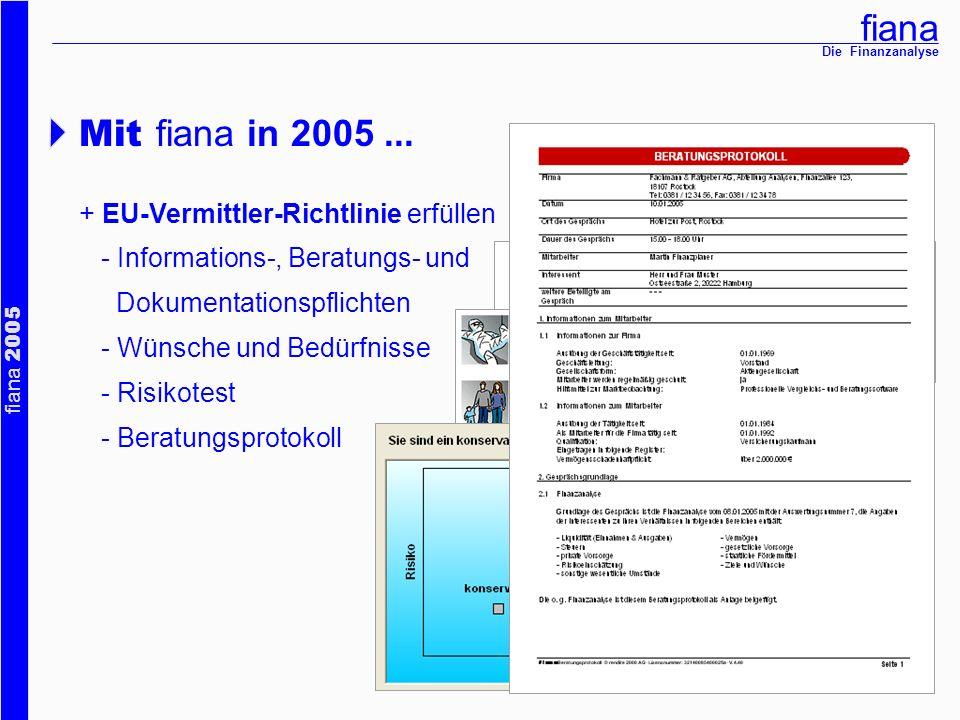 fiana fiana 2005 Die Finanzanalyse + EU-Vermittler-Richtlinie erfüllen - Informations-, Beratungs- und Dokumentationspflichten - Wünsche und Bedürfnis