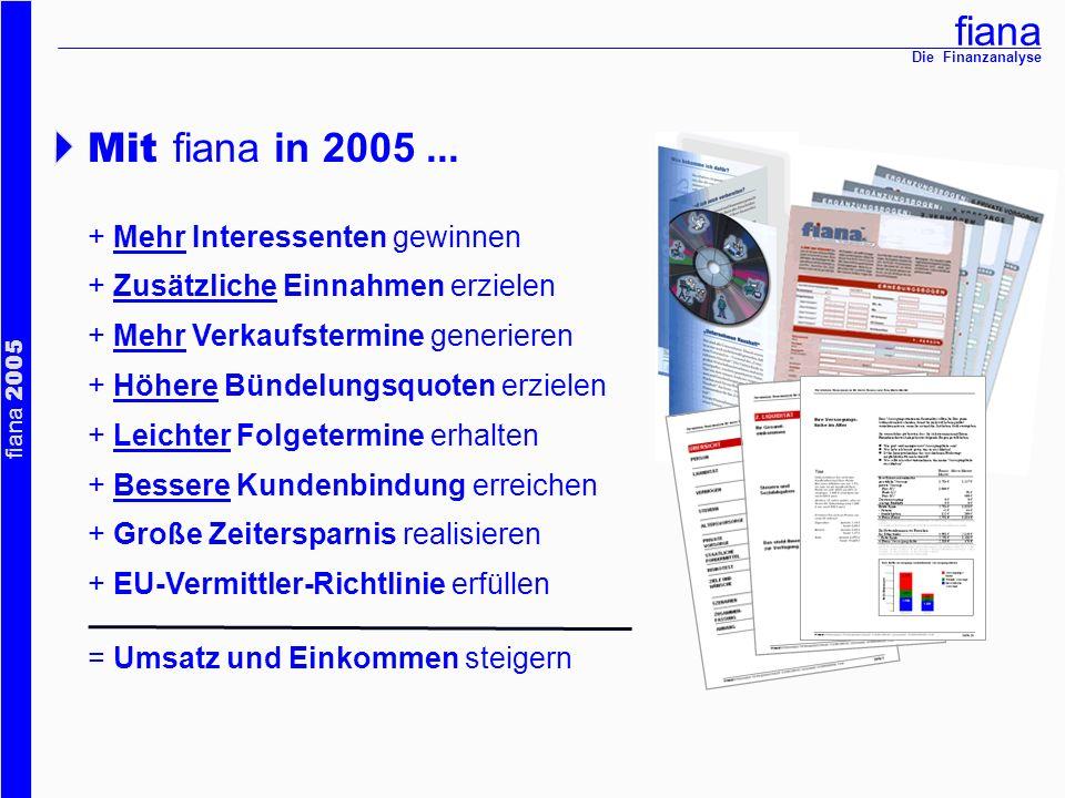 fiana fiana 2005 Die Finanzanalyse Mit fiana in 2005... + Mehr Interessenten gewinnen + Zusätzliche Einnahmen erzielen + Mehr Verkaufstermine generier