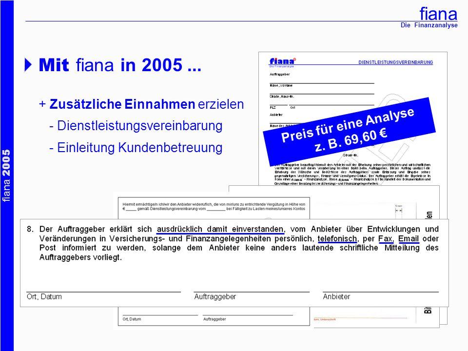 fiana fiana 2005 Die Finanzanalyse Mit fiana in 2005... + Zusätzliche Einnahmen erzielen - Dienstleistungsvereinbarung - Einleitung Kundenbetreuung Pr