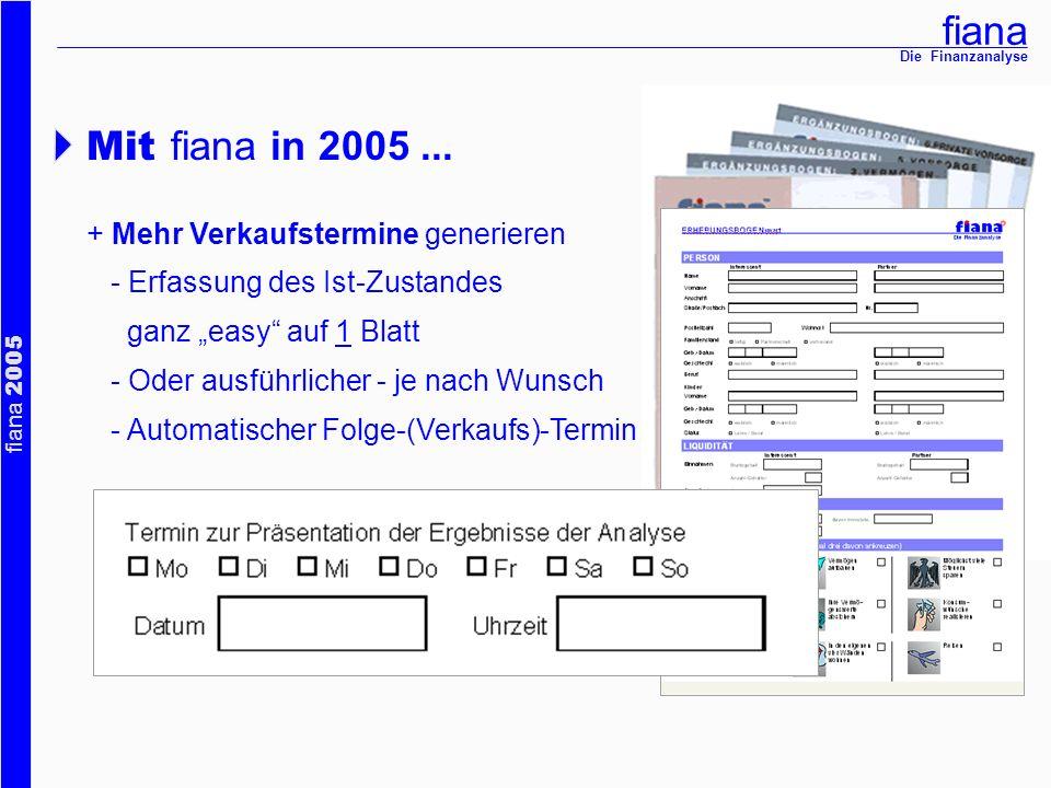 fiana fiana 2005 Die Finanzanalyse Mit fiana in 2005... + Mehr Verkaufstermine generieren - Erfassung des Ist-Zustandes ganz easy auf 1 Blatt - Oder a