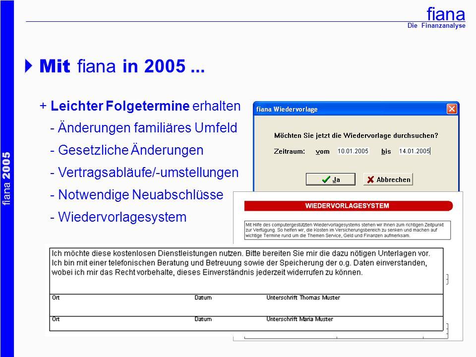 fiana fiana 2005 Die Finanzanalyse Mit fiana in 2005... + Leichter Folgetermine erhalten - Änderungen familiäres Umfeld - Gesetzliche Änderungen - Ver