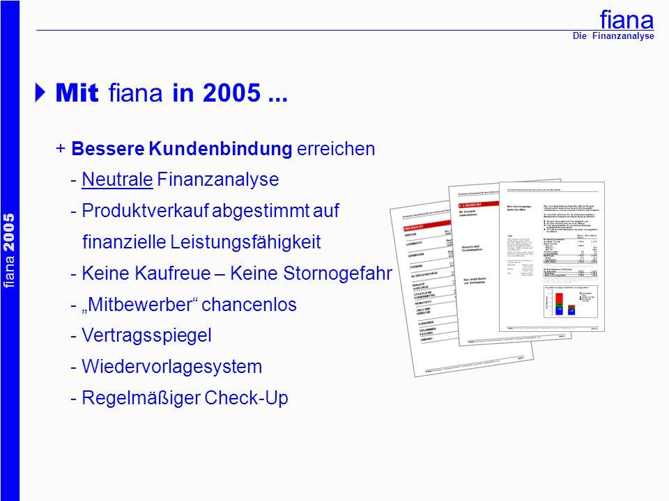 fiana fiana 2005 Die Finanzanalyse Mit fiana in 2005... + Bessere Kundenbindung erreichen - Neutrale Finanzanalyse - Produktverkauf abgestimmt auf fin