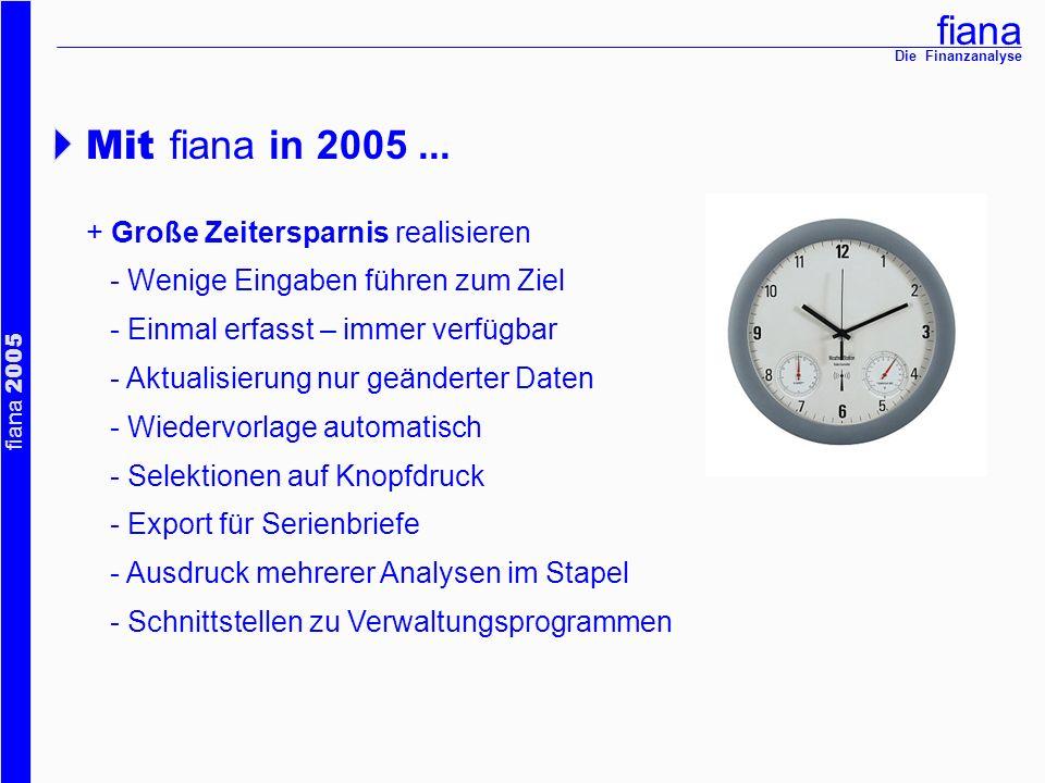fiana fiana 2005 Die Finanzanalyse + EU-Vermittler-Richtlinie erfüllen - Informations-, Beratungs- und Dokumentationspflichten - Wünsche und Bedürfnisse - Risikotest - Beratungsprotokoll Mit fiana in 2005...