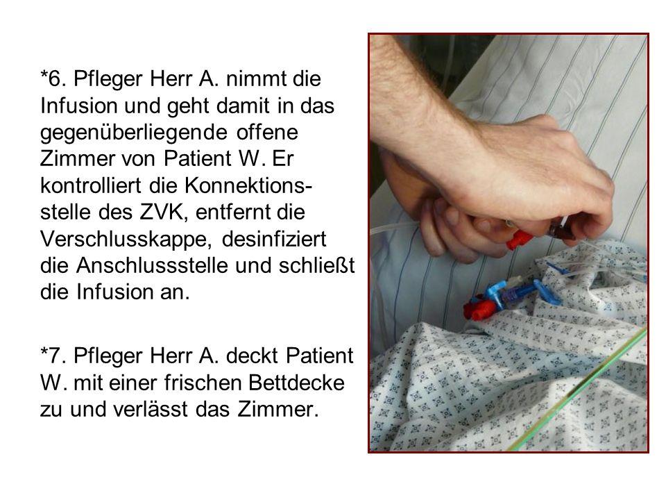 Ergebnis Kasuistik I: Patient W.wird durch Pfleger A.