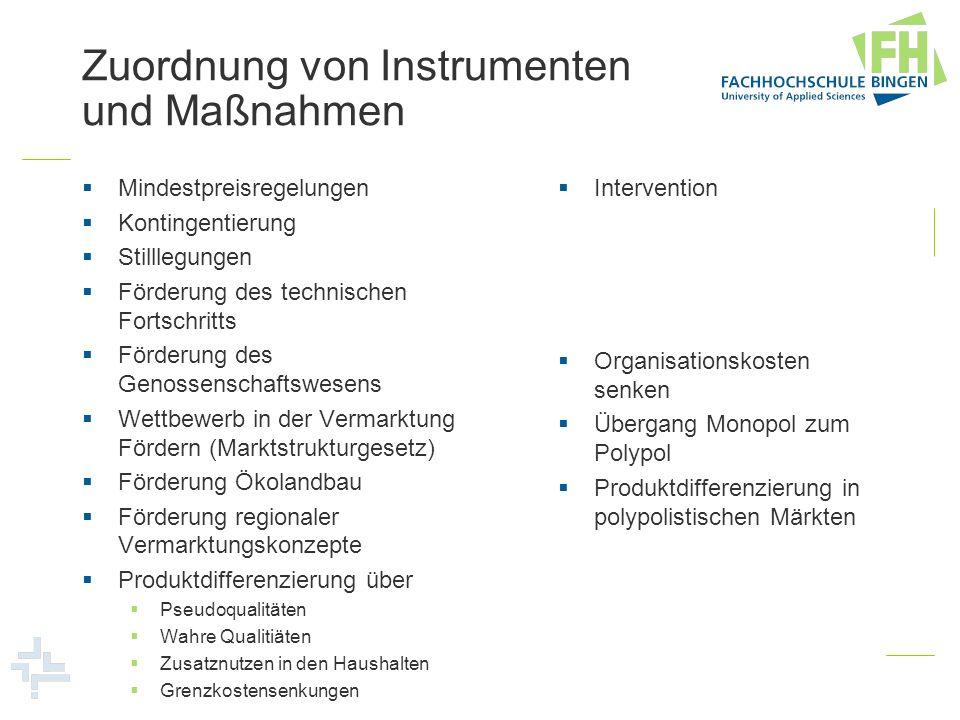 Zuordnung von Instrumenten und Maßnahmen Mindestpreisregelungen Kontingentierung Stilllegungen Förderung des technischen Fortschritts Förderung des Ge