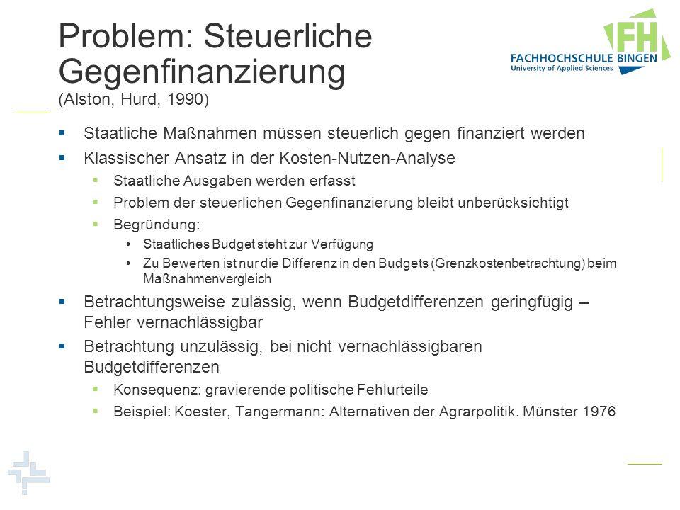 Problem: Steuerliche Gegenfinanzierung (Alston, Hurd, 1990) Staatliche Maßnahmen müssen steuerlich gegen finanziert werden Klassischer Ansatz in der K