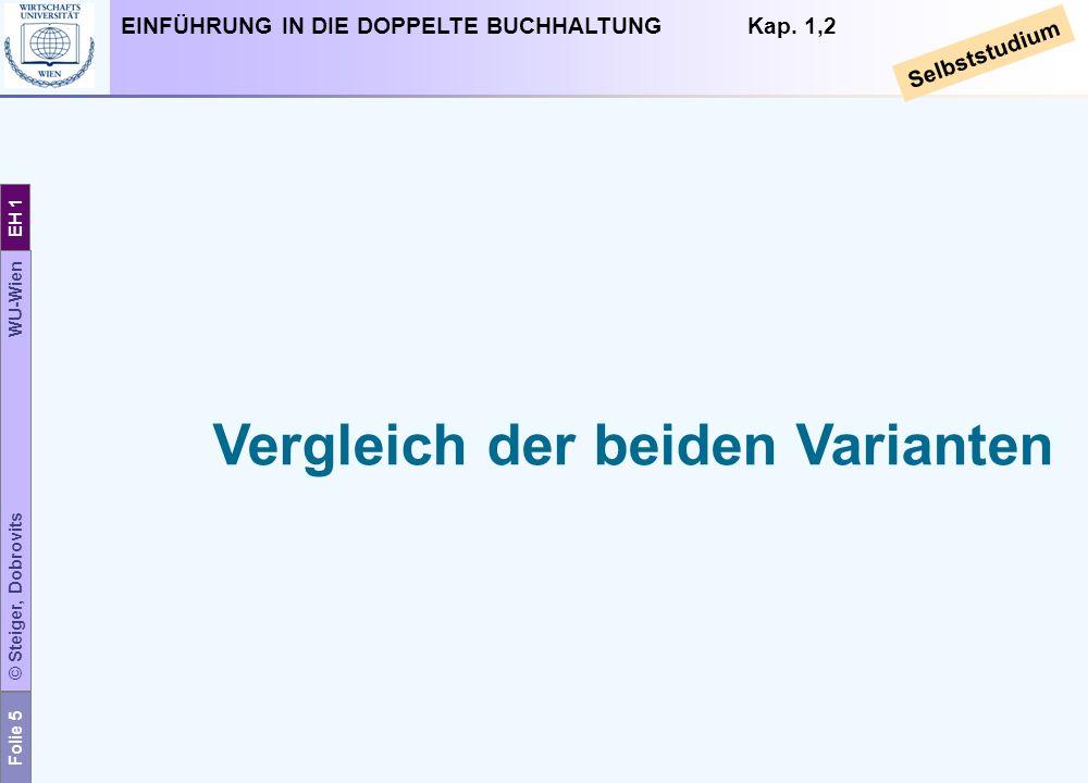 Folie 5 © Steiger, Dobrovits WU-Wien EH 1 EINFÜHRUNG IN DIE DOPPELTE BUCHHALTUNG Kap. 1,2 Selbststudium Vergleich der beiden Varianten
