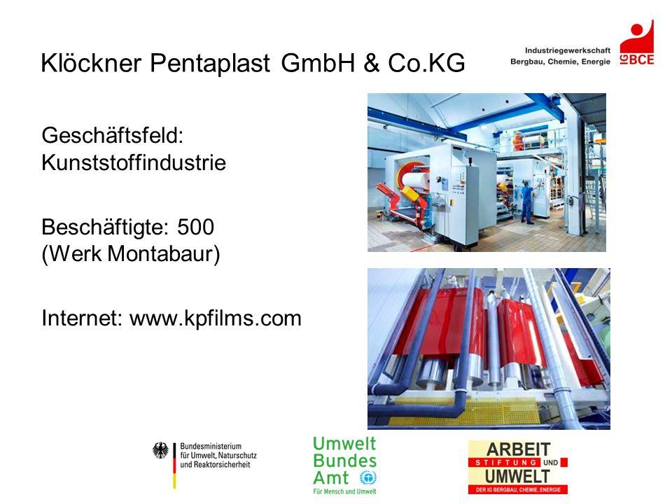 Klöckner Pentaplast GmbH & Co.KG Geschäftsfeld: Kunststoffindustrie Beschäftigte: 500 (Werk Montabaur) Internet: www.kpfilms.com