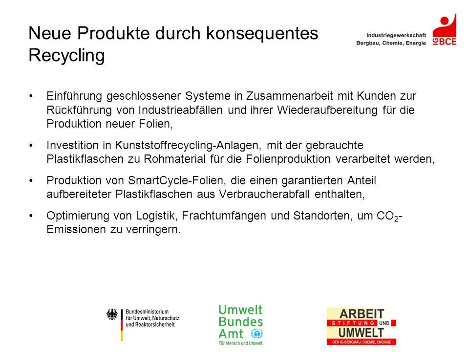 Neue Produkte durch konsequentes Recycling Einführung geschlossener Systeme in Zusammenarbeit mit Kunden zur Rückführung von Industrieabfällen und ihr