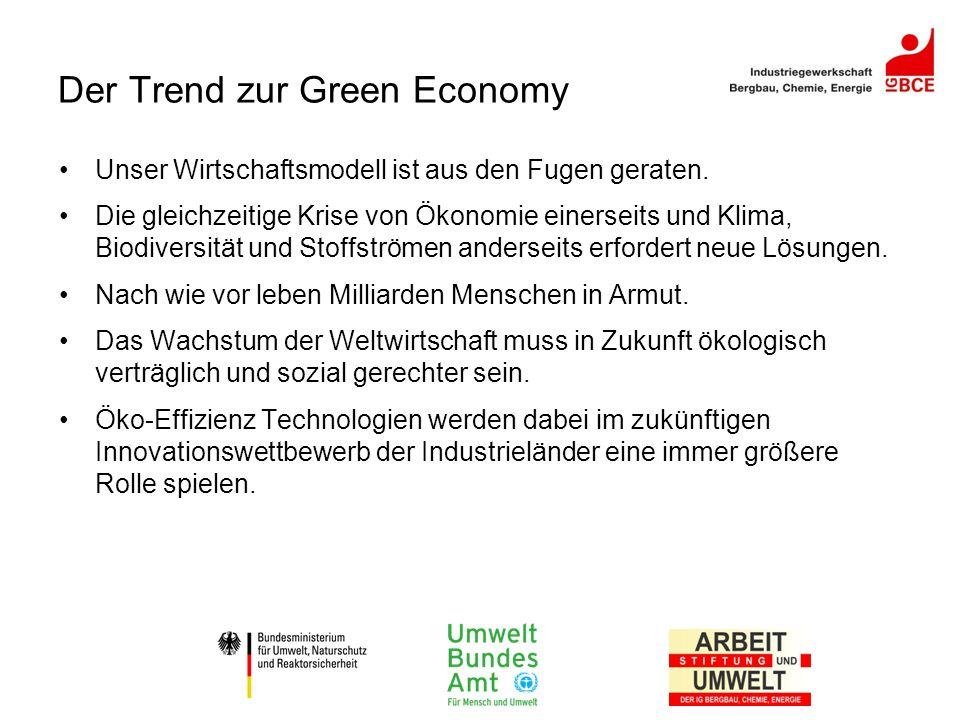 Der Trend zur Green Economy Unser Wirtschaftsmodell ist aus den Fugen geraten. Die gleichzeitige Krise von Ökonomie einerseits und Klima, Biodiversitä