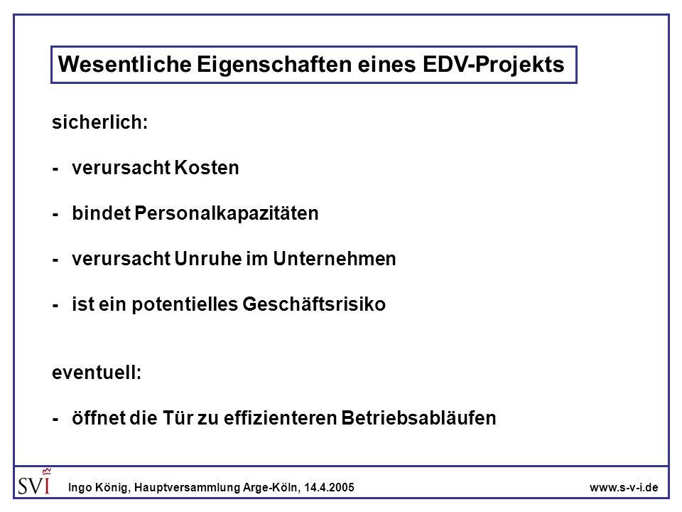 www.s-v-i.deIngo König, Hauptversammlung Arge-Köln, 14.4.2005 Zielsetzung der Geschäftsleitung -die Projektleitung unterstützen -Projektziel, Kosten und Zeitverlauf einhalten -Gefahren im Projektverlauf rechtzeitig erkennen -eigene Verhandlungsposition stärken