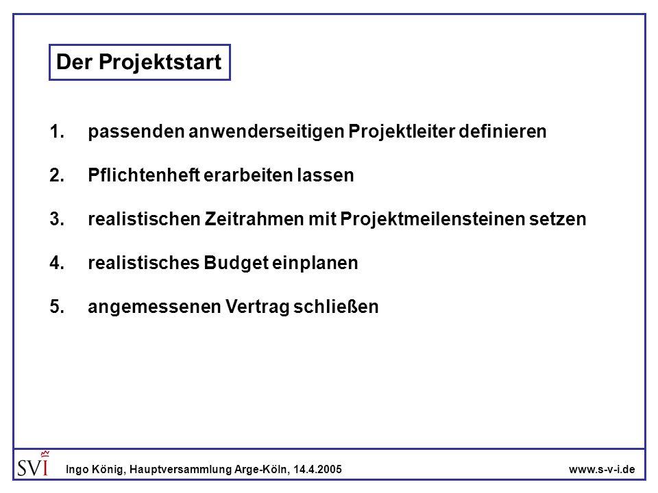 www.s-v-i.deIngo König, Hauptversammlung Arge-Köln, 14.4.2005 Der anwenderseitige Projektleiter -genügend Zeit für das Projekt -detaillierte Kenntnisse über die Anforderung des Anwenderunternehmens oder Zugang zu ihnen - Durchschlagskraft im Unternehmen -permanenter Zugang zur Geschäftsleitung während des Projekts Anwender- unternehmen Software- Anbieter Projekt- leiter Projekt- leiter
