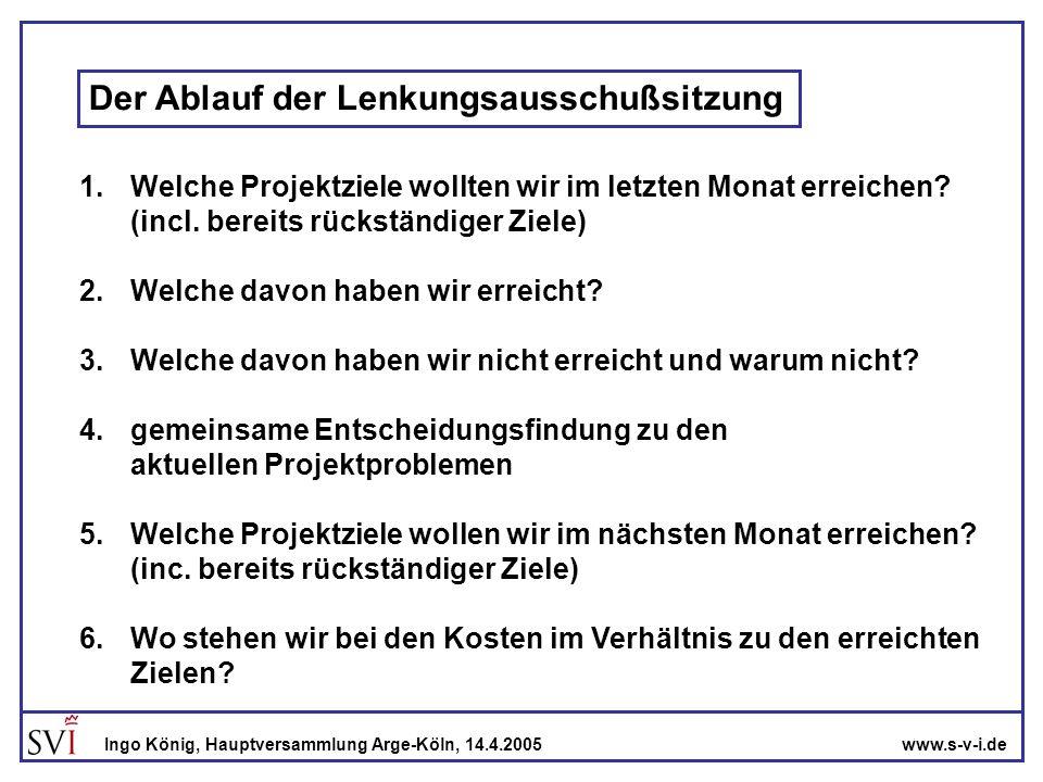 www.s-v-i.deIngo König, Hauptversammlung Arge-Köln, 14.4.2005 Der Ablauf der Lenkungsausschußsitzung 1.Welche Projektziele wollten wir im letzten Mona