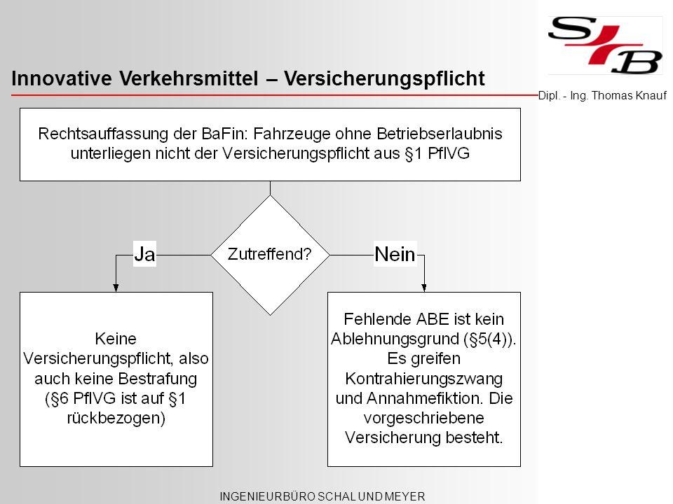 Innovative Verkehrsmittel – Versicherungspflicht INGENIEURBÜRO SCHAL UND MEYER Dipl. - Ing. Thomas Knauf