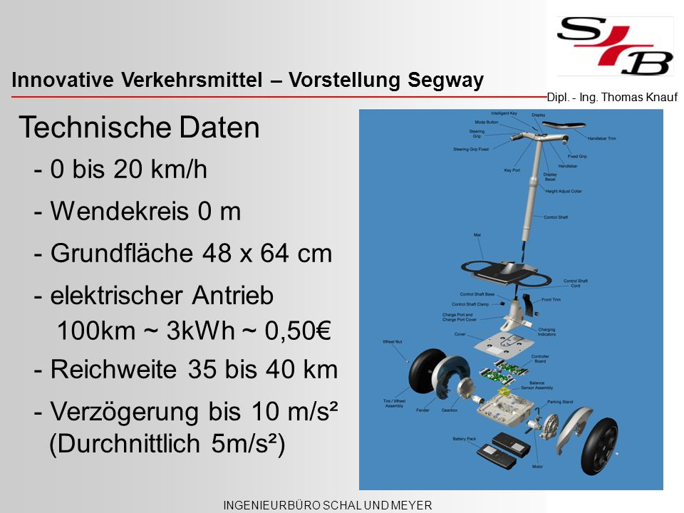 Innovative Verkehrsmittel – Versicherungspflicht INGENIEURBÜRO SCHAL UND MEYER Dipl. - Ing. Thomas Knauf Technische Daten - 0 bis 20 km/h - Grundfläch