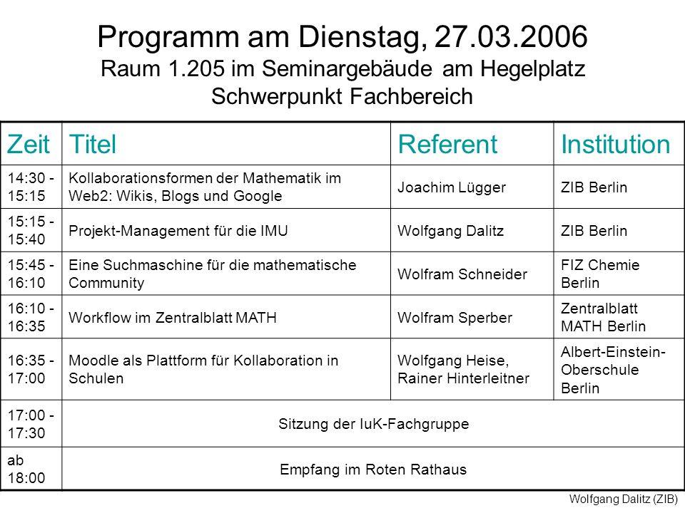 Wolfgang Dalitz (ZIB) Programm am Dienstag, 27.03.2006 Raum 1.205 im Seminargebäude am Hegelplatz Schwerpunkt Fachbereich ZeitTitelReferentInstitution