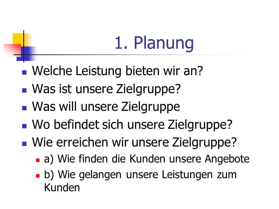 1. Planung Welche Leistung bieten wir an? Was ist unsere Zielgruppe? Was will unsere Zielgruppe Wo befindet sich unsere Zielgruppe? Wie erreichen wir