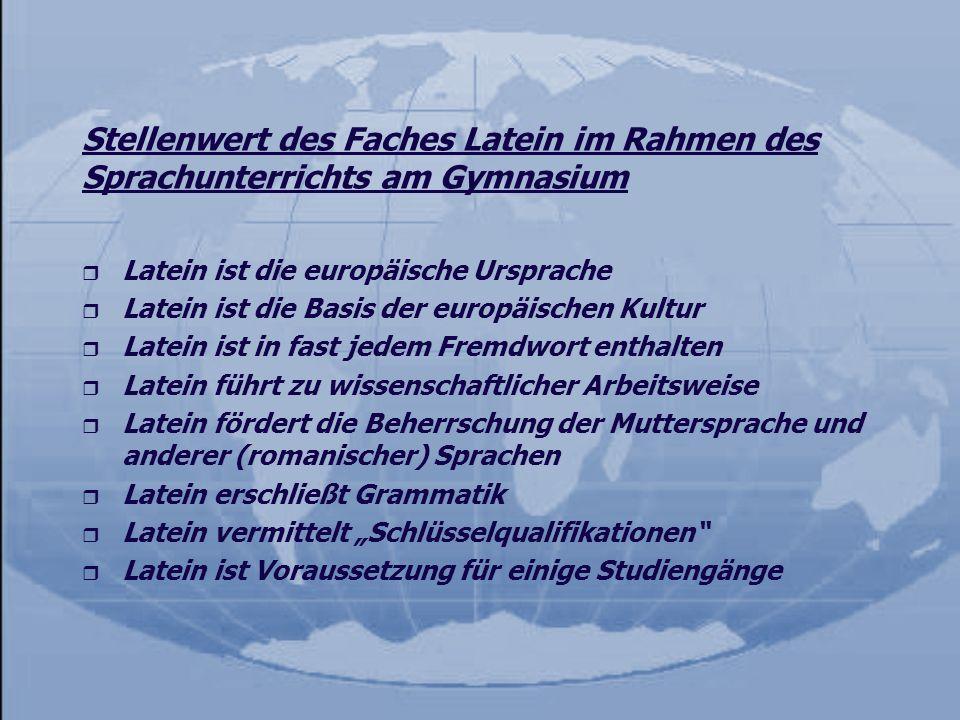 Stellenwert des Faches Latein im Rahmen des Sprachunterrichts am Gymnasium r Latein ist die europäische Ursprache r Latein ist die Basis der europäisc