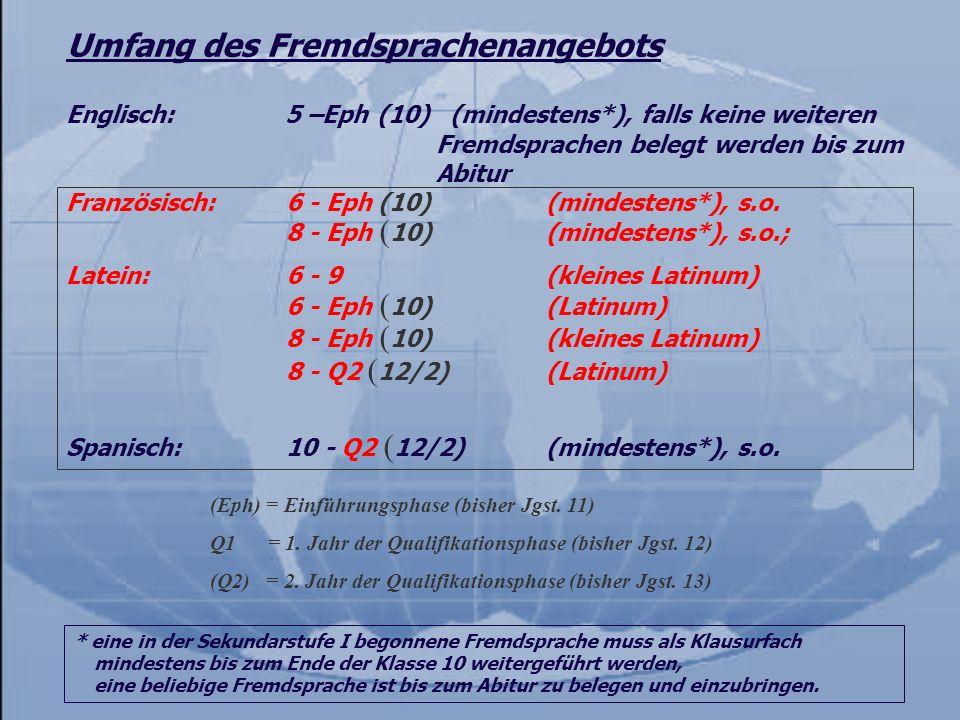 Umfang des Fremdsprachenangebots Französisch:6 - Eph (10) (mindestens*), s.o. 8 - Eph ( 10) (mindestens*), s.o.; Latein:6 - 9(kleines Latinum) 6 - Eph
