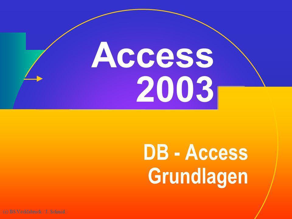 (c) BS Vöcklabruck / J. Schmid Access 2003 DB - Access Grundlagen