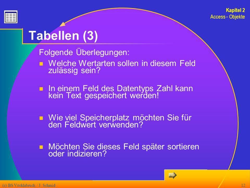 (c) BS Vöcklabruck / J. Schmid12 Tabellen (3) Folgende Überlegungen: Welche Wertarten sollen in diesem Feld zulässig sein? In einem Feld des Datentyps