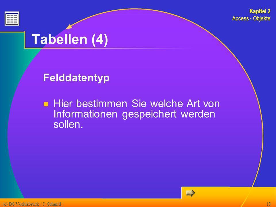 (c) BS Vöcklabruck / J. Schmid13 Tabellen (4) Felddatentyp Hier bestimmen Sie welche Art von Informationen gespeichert werden sollen. Kapitel 2 Access