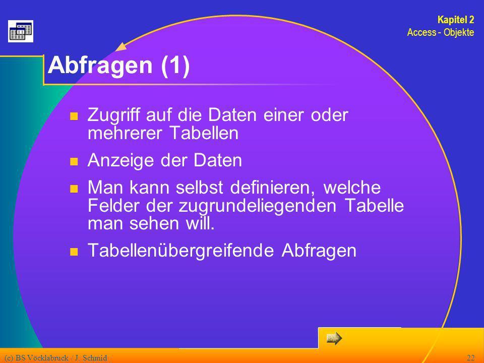 (c) BS Vöcklabruck / J. Schmid22 Abfragen (1) Zugriff auf die Daten einer oder mehrerer Tabellen Anzeige der Daten Man kann selbst definieren, welche