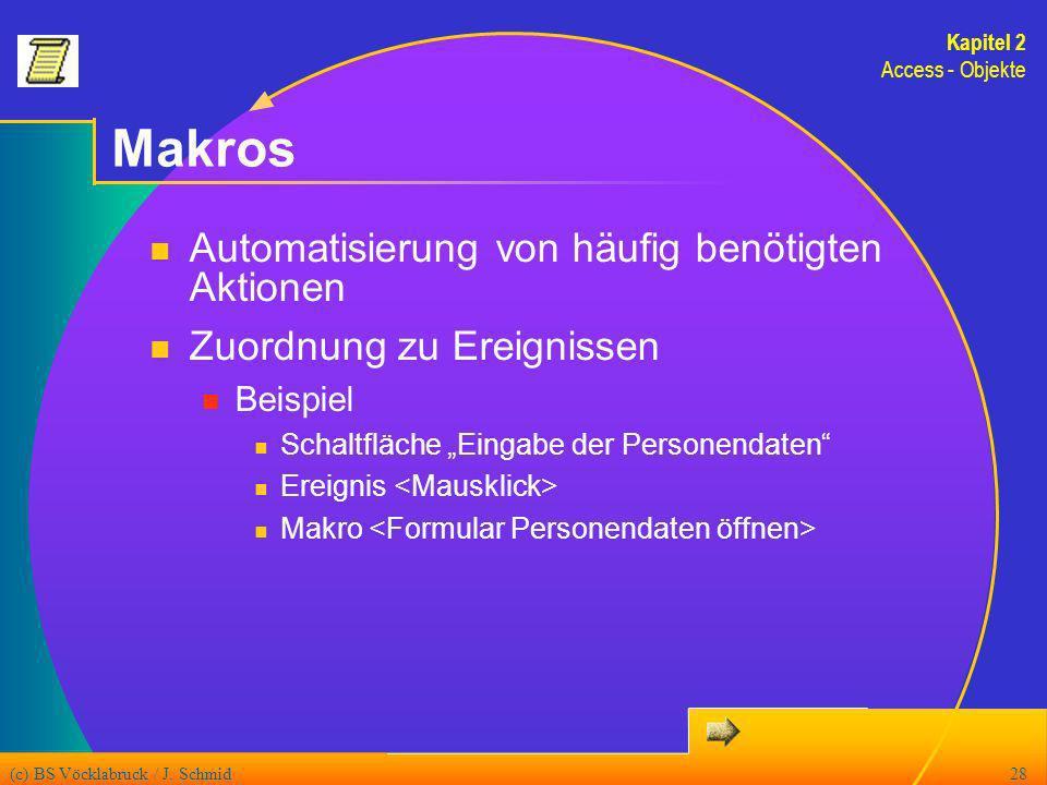 (c) BS Vöcklabruck / J. Schmid28 Makros Automatisierung von häufig benötigten Aktionen Zuordnung zu Ereignissen Beispiel Schaltfläche Eingabe der Pers