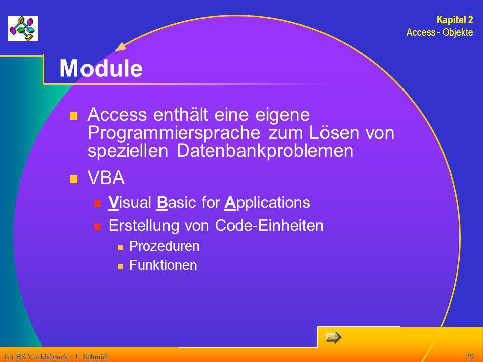 (c) BS Vöcklabruck / J. Schmid29 Module Access enthält eine eigene Programmiersprache zum Lösen von speziellen Datenbankproblemen VBA Visual Basic for