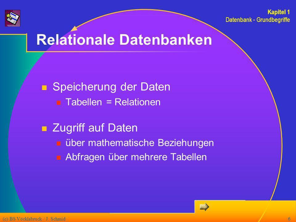 (c) BS Vöcklabruck / J. Schmid6 Relationale Datenbanken Speicherung der Daten Tabellen = Relationen Zugriff auf Daten über mathematische Beziehungen A