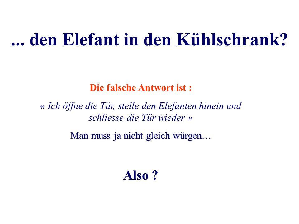 2. Und jetzt, wie kriegen Sie…? Nun, wie bringen Sie einen Elefanten in den Kühlschrank ?Nun, wie bringen Sie einen Elefanten in den Kühlschrank ?